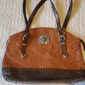 American West leather concealed carry purse.